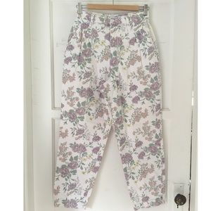 Vintage Cherokee Floral White High Waisted Jeans